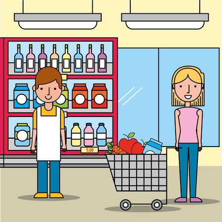 salesman and customer woman with shopping cart in supermarket vector illustration Illustration