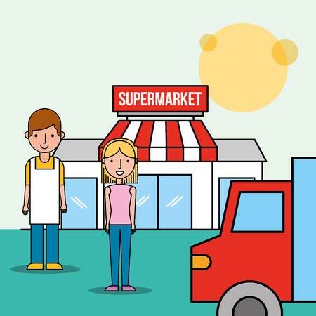 salesman and customer woman front supermarket truck transport vector illustration