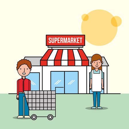 saleswoman and customer man front supermarket with shopping cart vector illustration
