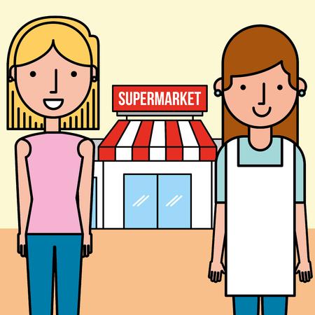 saleswoman and customer woman supermarket people vector illustration