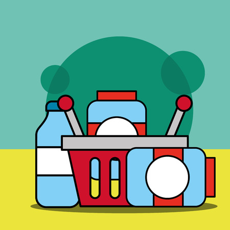 shopping basket with containers made of glass products vector illustration Illustration