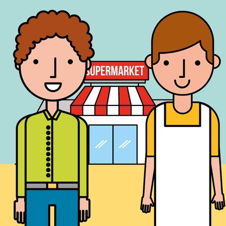 salesman and customer man supermarket concept vector illustration