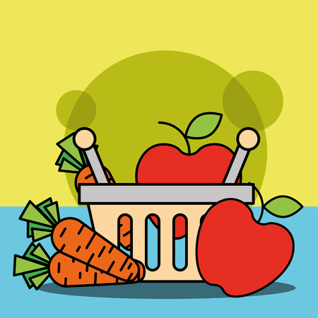 shopping basket with fruits and vegetables carrot apple vector illustration Stock Vector - 100527396