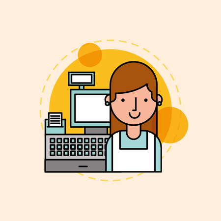young woman is near the cash register vector illustration vector illustration