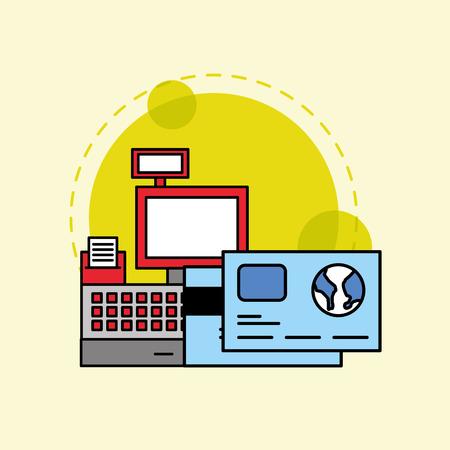 cash register bank credit card payment vector illustration Ilustração