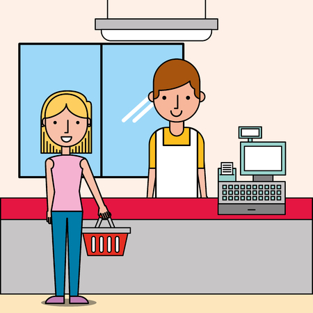 cashier next cash register and woman customer holds shopping basket vector illustration Ilustração