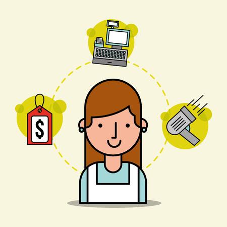 woman cartoon employee supermarket tag price cash register and scanner vector illustration Illustration