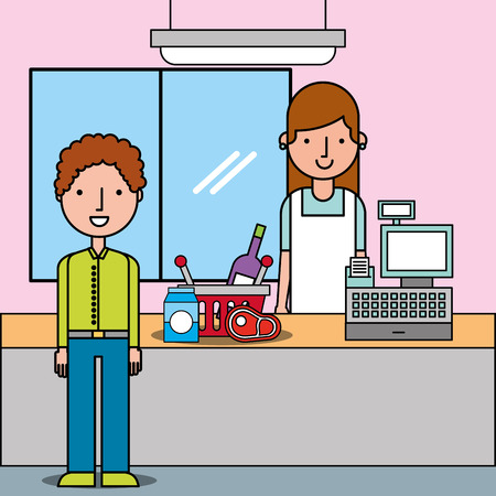 supermarket with customer and cashier near cash register shopping basket vector illustration