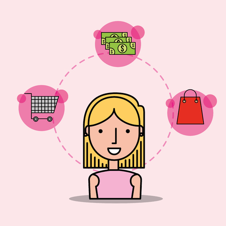 cartoon woman customer shopping cart money bag vector illustration