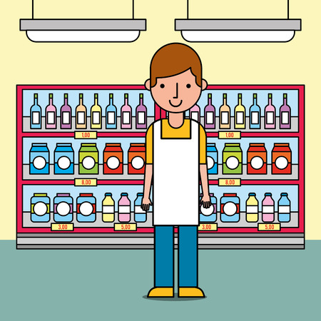 male worker standing near of shelves with bottles and packages in supermarket vector illustration