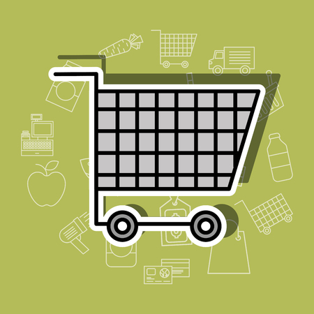 shopping cart supermarket commerce image vector illustration Illustration