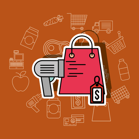 shopping paper bag scanner and tag price supermarket vector illustration
