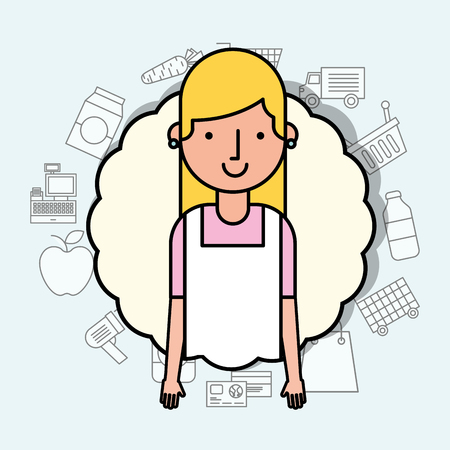 portrait woman character employee worker with apron vector illustration