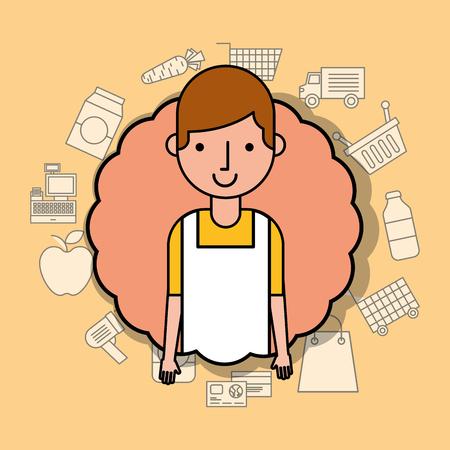 portrait man cartoon wit apron supermarket employee vector illustration