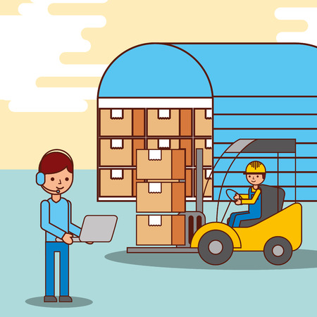 warehouse workers operator and driver forklift with boxes vector illustration