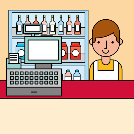 cashier and cash register and shelves supermarket cartoon vector illustration