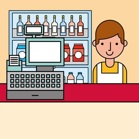 cashier and cash register and shelves supermarket cartoon vector illustration