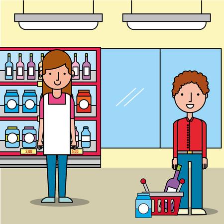 saleswoman supermarket customer man with shopping basket vector illustration