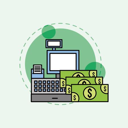 cash register banknote money dollar vector illustration