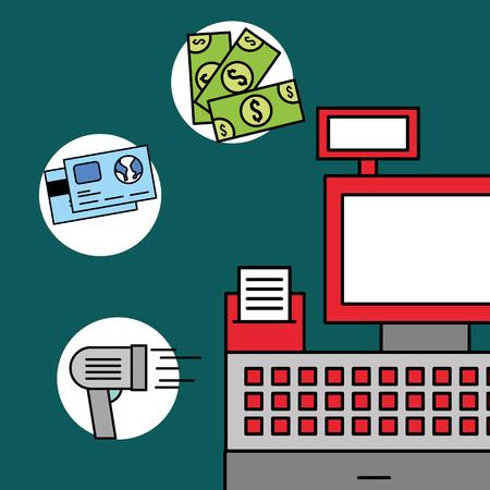 cash register scanner money bank cards vector illustration