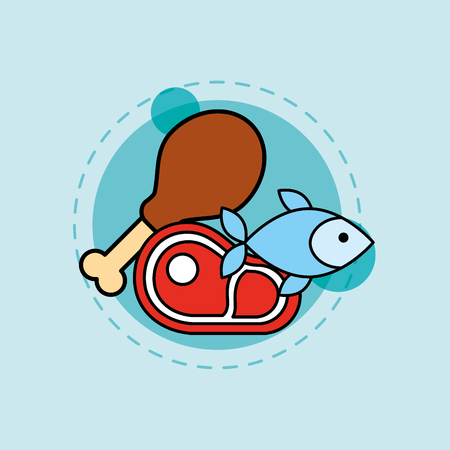 fresh food fish chicken and meat vector illustration Illusztráció