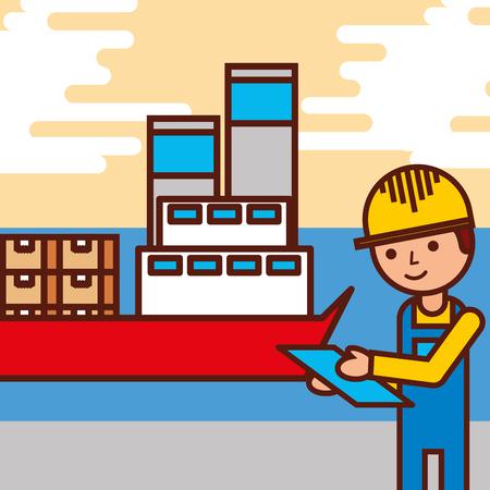 Ilustración de vector de contenedores de buque de carga de empleado logístico