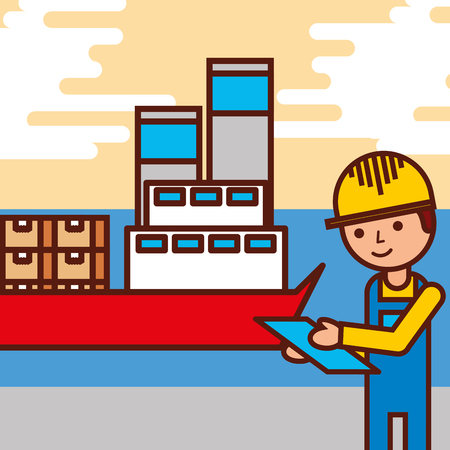 logistic employee cargo ship containers vector illustration