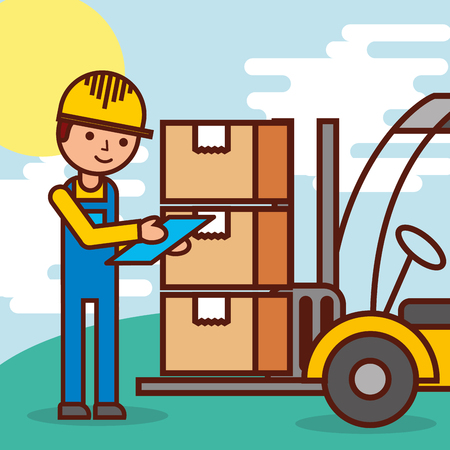 logistic worker and forklift loading boxes vector illustration