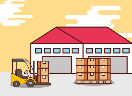 logistic warehouse cardboard boxes and forklift machine vector illustration