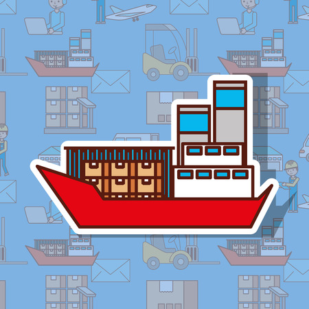 logistic cargo ship container in the ocean transportation shipping freight vector illustration
