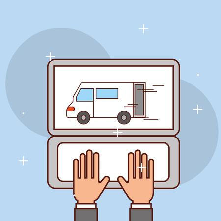hands working laptop logistic van transport vector illustration Banque d'images - 100527279
