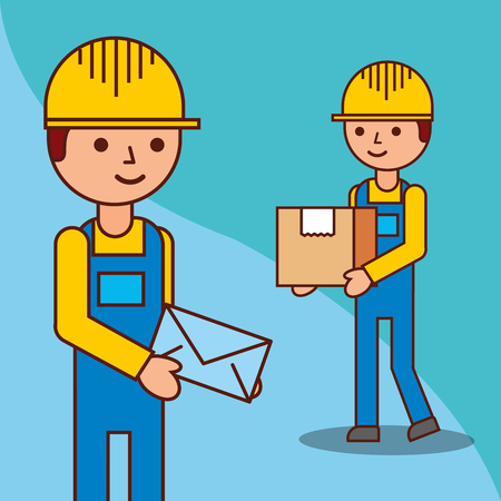 delivery men with a box and a envelope mail vector illustration