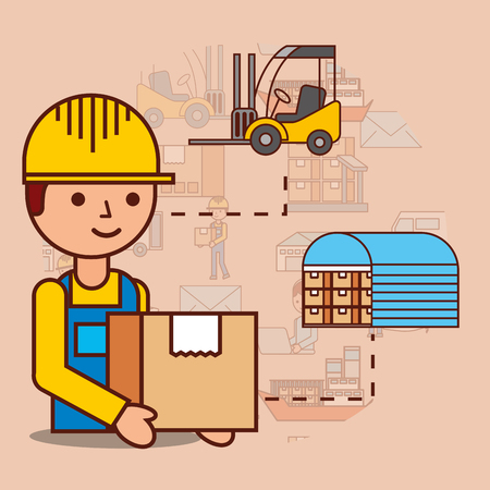 delivery man with cardboard box warehouse and forklift vector illustration