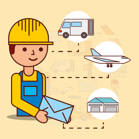 delivery man holding envelope mail van plane and warehouse vector illustration