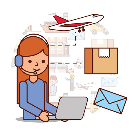 woman operator logistic headset and box envelope airplane vector illustration