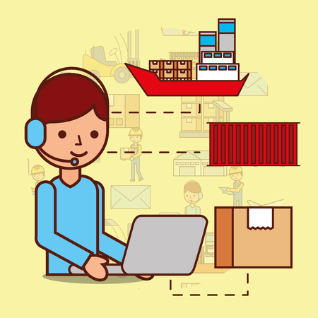 cartoon man operator headset and laptop box container boat vector illustration Ilustração