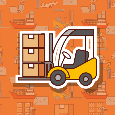 logistic forklift loading cardboard boxes cargo vector illustration