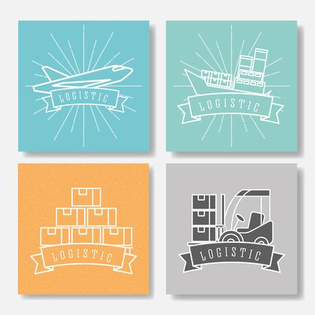 logistic boat cargo forklift plane boxes emblem style vector illustration