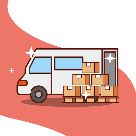 delivery truck with wooden boxes service transport vector illustration Illustration