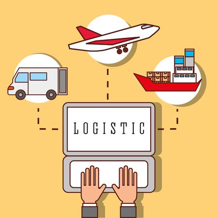 hands working laptop logistic truck plane and cargo boat vector illustration Illusztráció