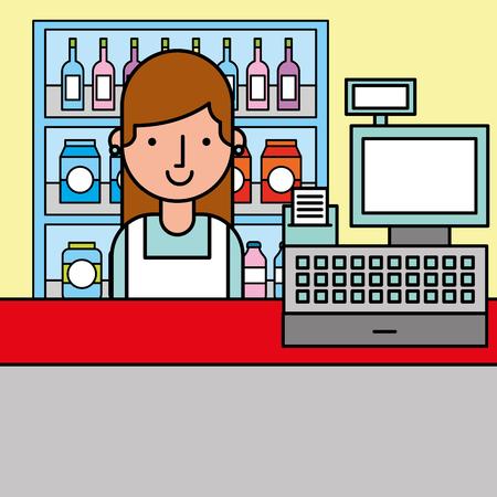 woman cash register and shelves supermarket cartoon vector illustration Illustration
