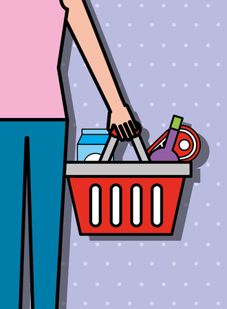 female holds shopping basket with products supermarket vector illustration