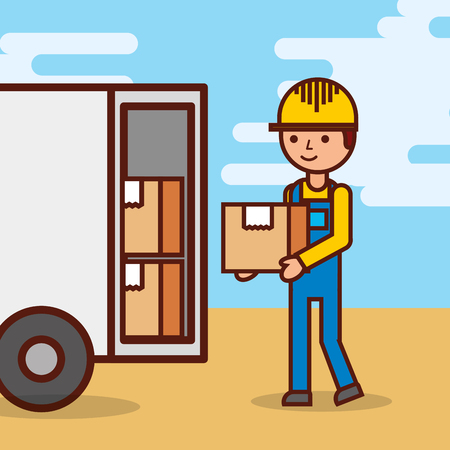 man postal delivery courier man in front of cargo truck delivering package vector illustration Stock Vector - 100639557