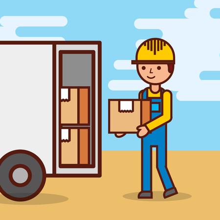 man postal delivery courier man in front of cargo truck delivering package vector illustration Illustration