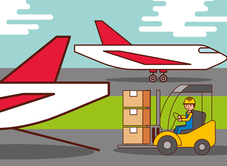 logistic airplane worker driving forklift cargo boxes vector illustration Archivio Fotografico - 100639559