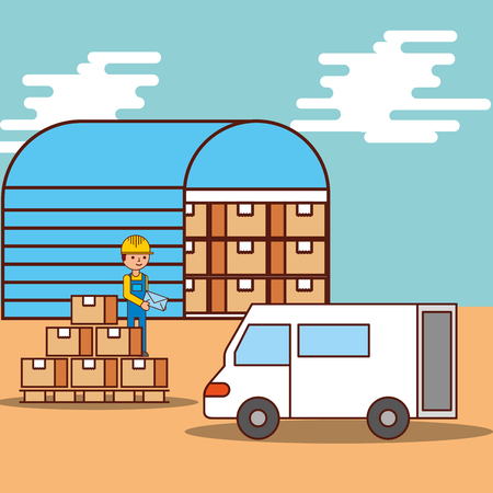man logistic warehouse boxes and van truck transport vector illustration