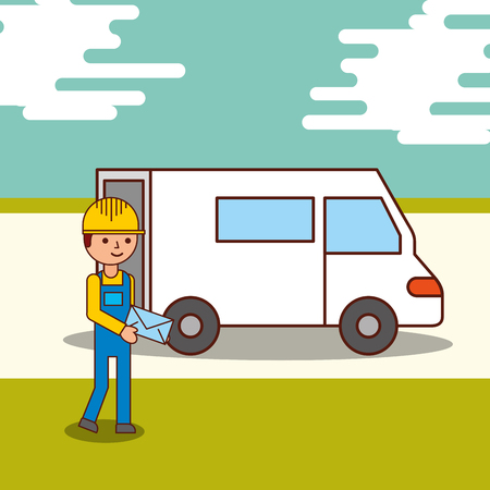 delivery service courier man holding an envelope and a van truck vector illustration Illustration