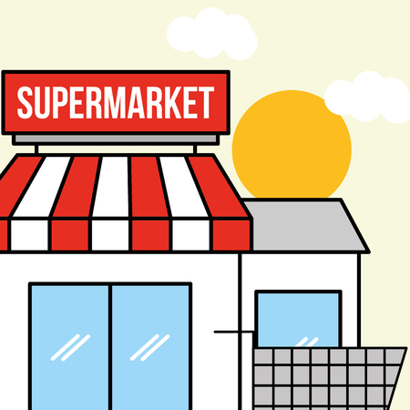 supermarket facade with shopping cart vector illustration Illustration
