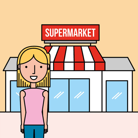 woman cartoon standing front supermarket vector illustration Banque d'images - 100639617