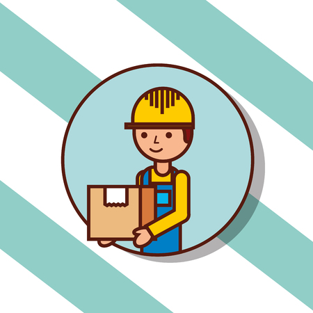 delivery man portrait cartoon with cardboard box vector illustration Stock Illustratie